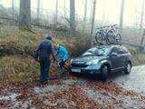 Tim reversed into a ditch trying to get out of the way of Dennis (credit Dennis Underwood).
